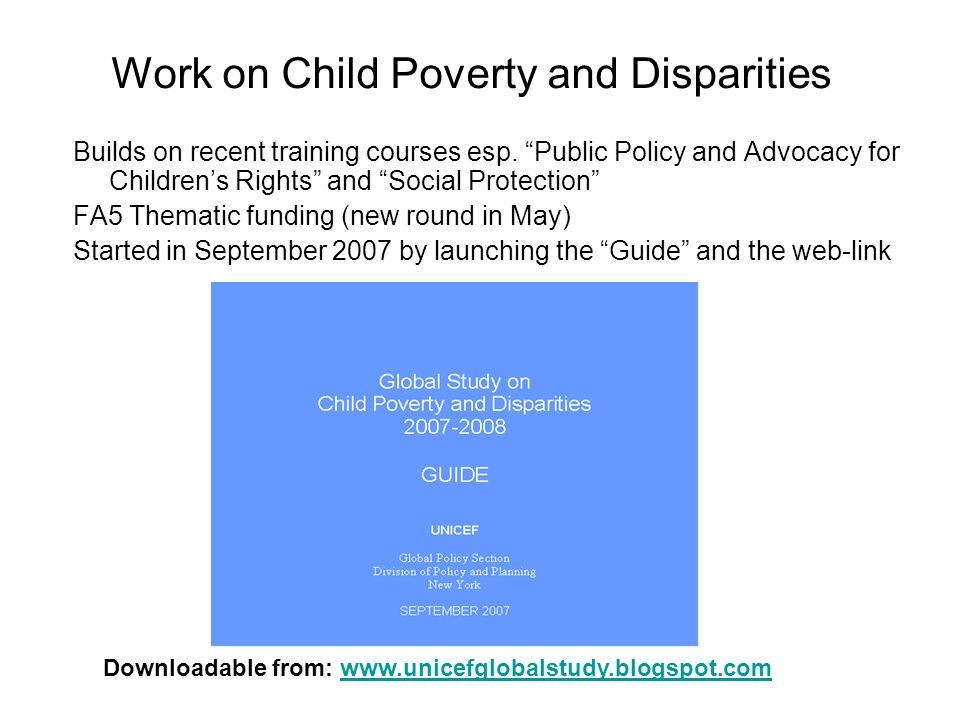 Work on Child Poverty and Disparities