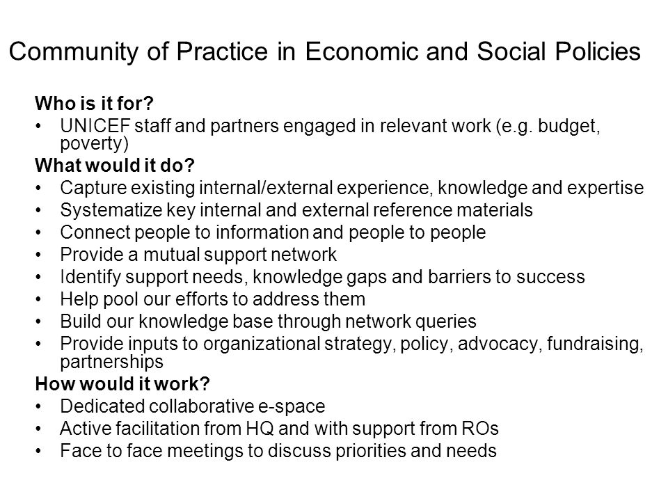 Community of Practice in Economic and Social Policies