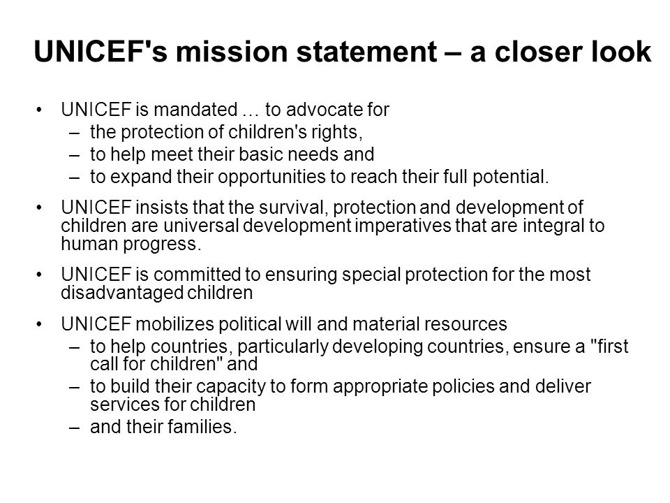 UNICEF s mission statement – a closer look