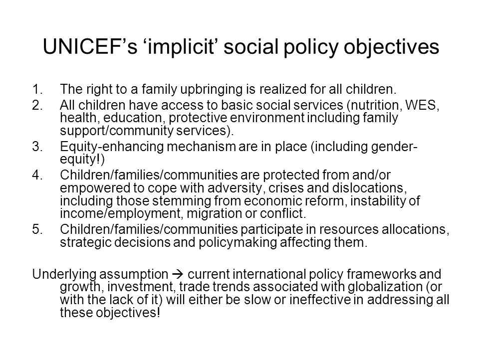 UNICEF's 'implicit' social policy objectives