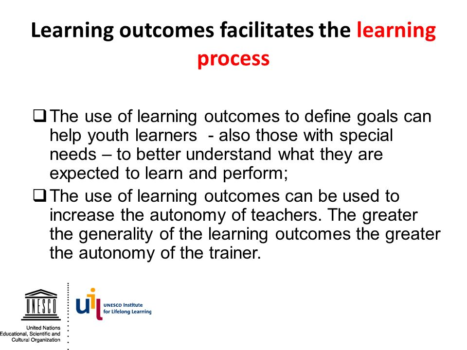 Learning outcomes facilitates the learning process
