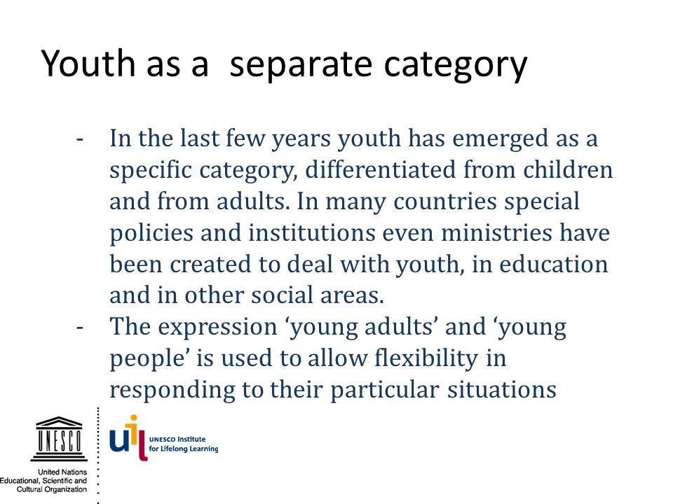 Youth as a separate category