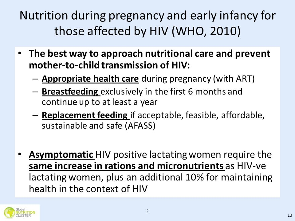 Nutrition during pregnancy and early infancy for those affected by HIV (WHO, 2010)