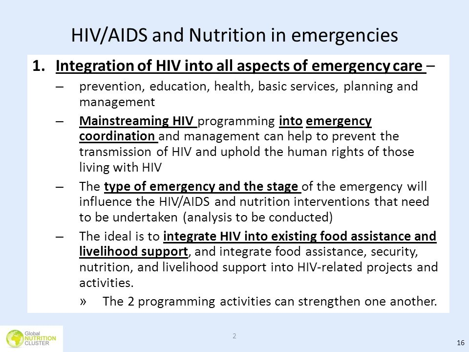 HIV/AIDS and Nutrition in emergencies
