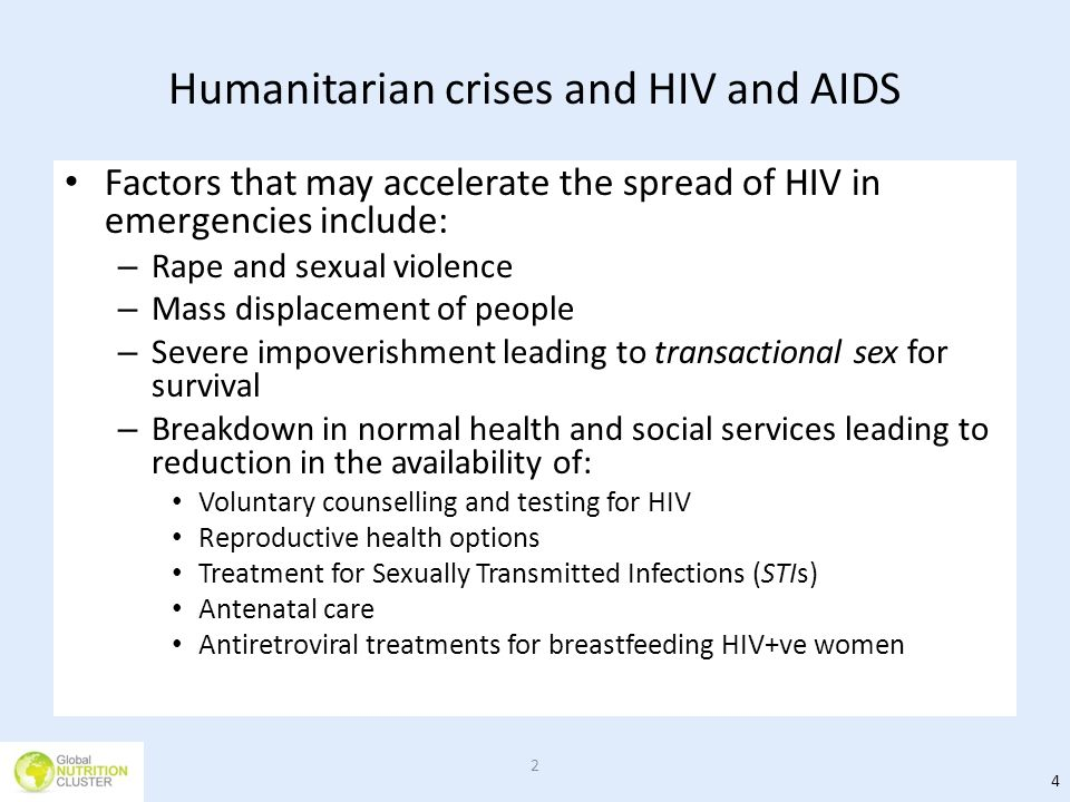 Humanitarian crises and HIV and AIDS