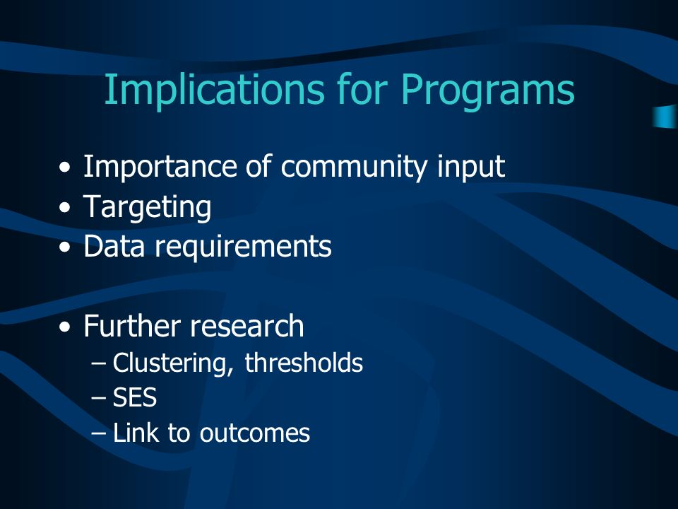 Implications for Programs