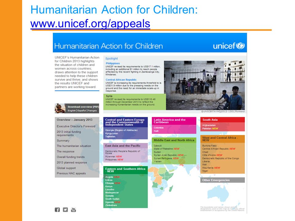 Humanitarian Action for Children: www.unicef.org/appeals