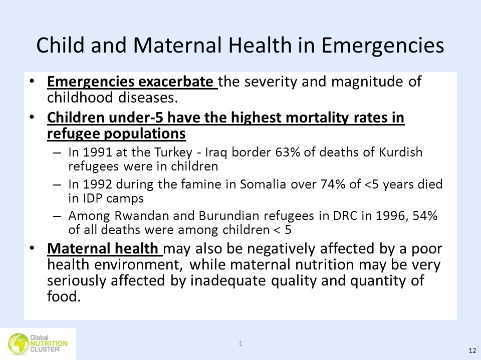 Child and Maternal Health in Emergencies