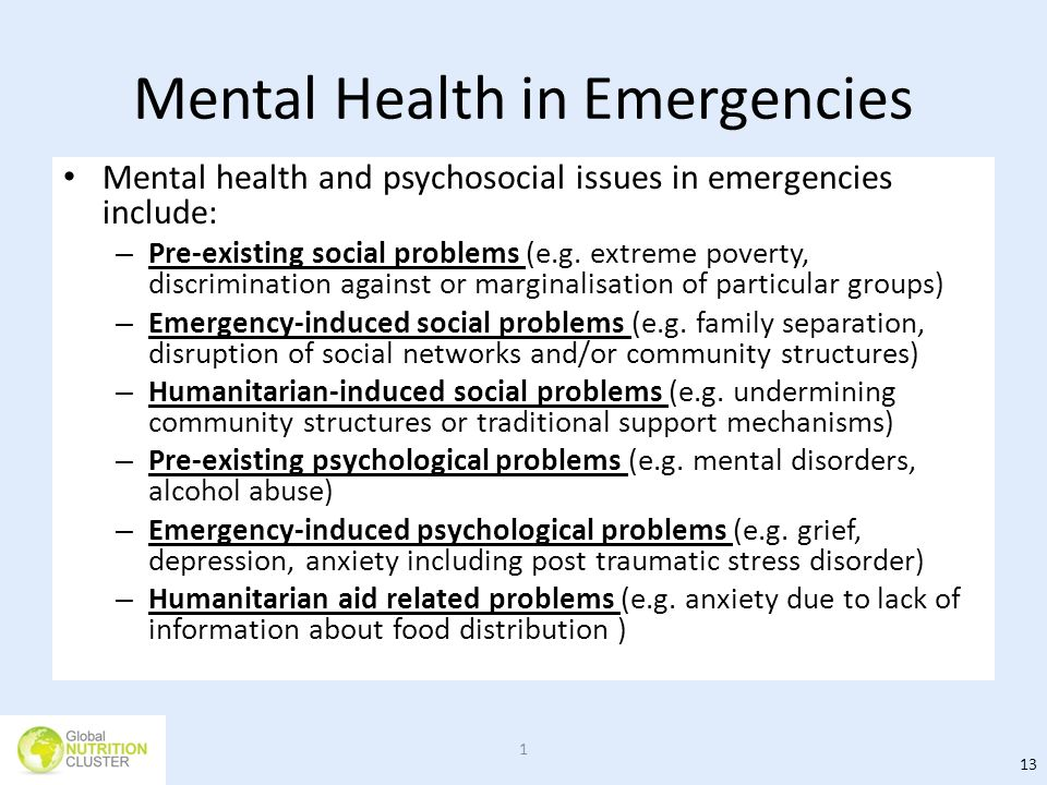 Mental Health in Emergencies