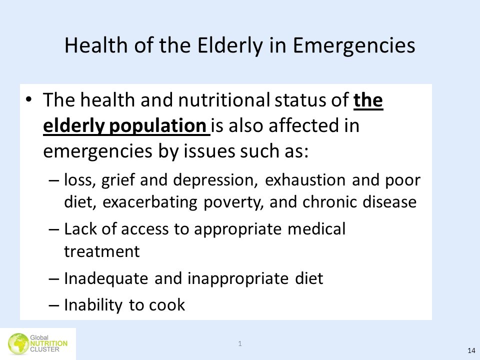 Health of the Elderly in Emergencies