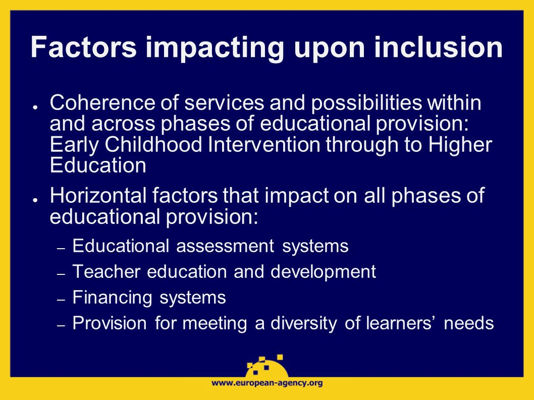 Factors impacting upon inclusion