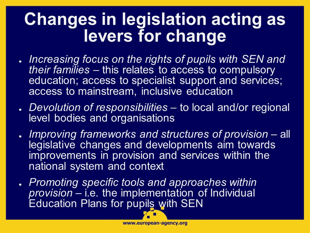 Changes in legislation acting as levers for change