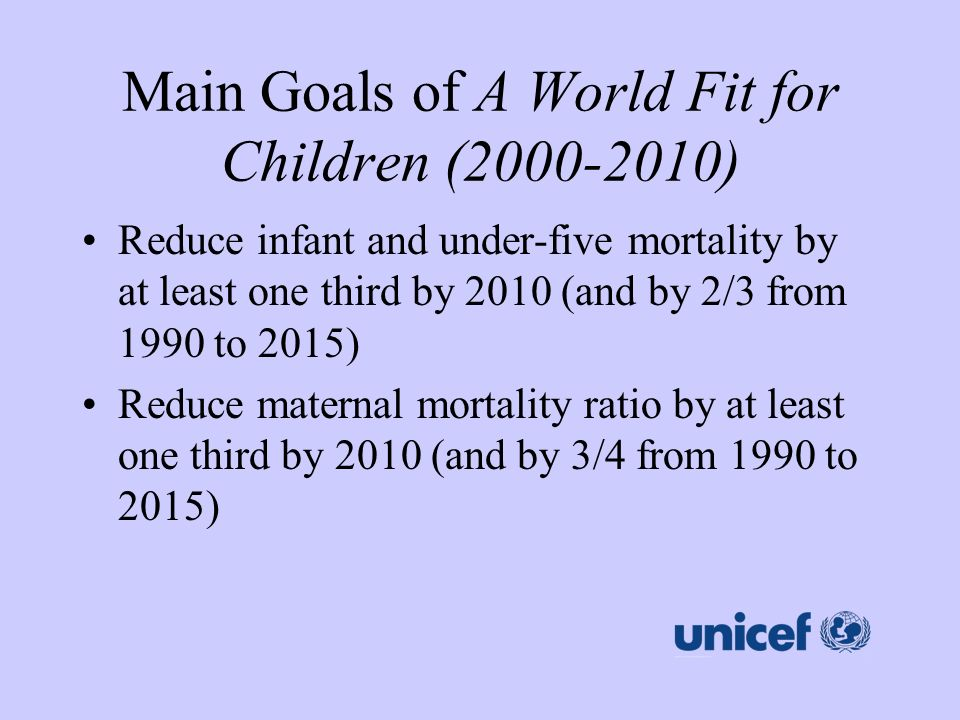 Main Goals of A World Fit for Children (2000-2010)