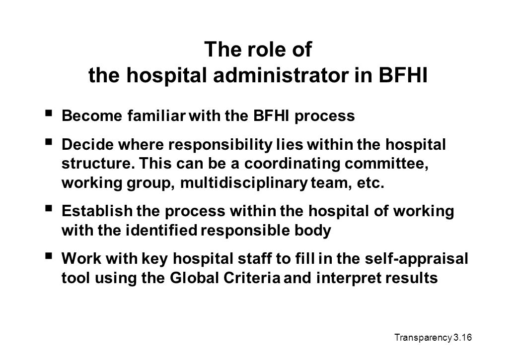 The role of the hospital administrator in BFHI