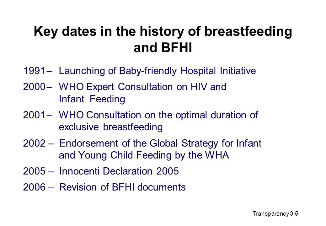 Key dates in the history of breastfeeding and BFHI