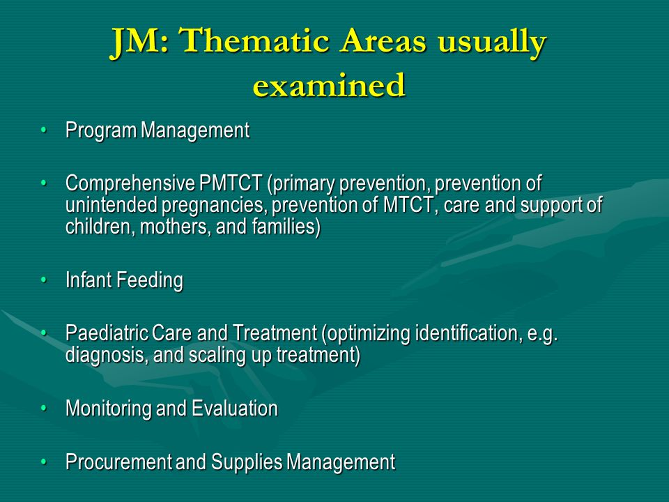 JM: Thematic Areas usually examined