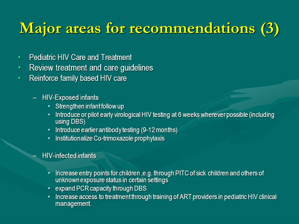 Major areas for recommendations (3)