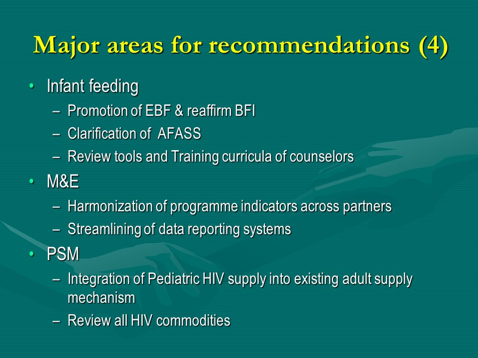Major areas for recommendations (4)
