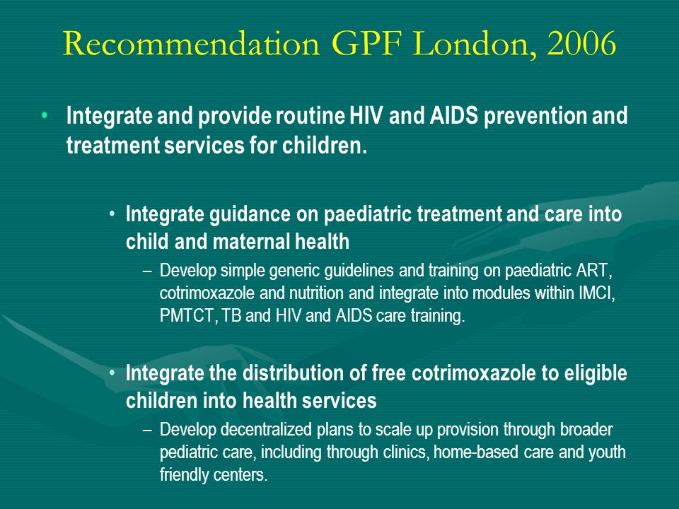 Recommendation GPF London, 2006