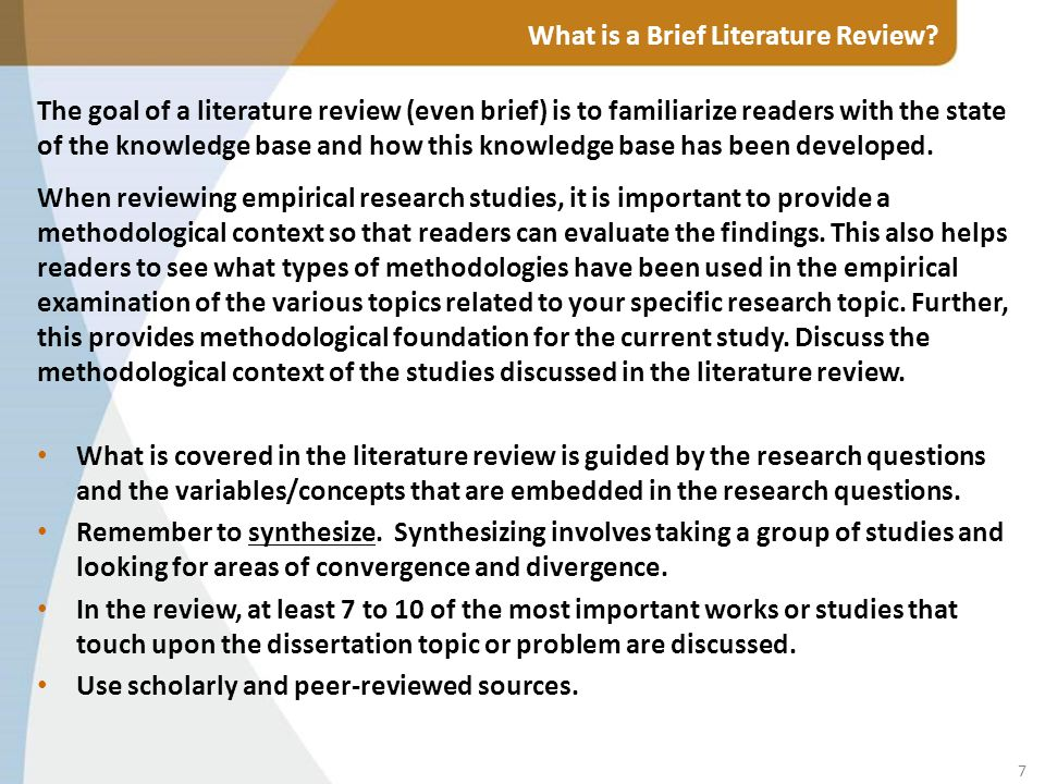 a brief guide to writing a literature review