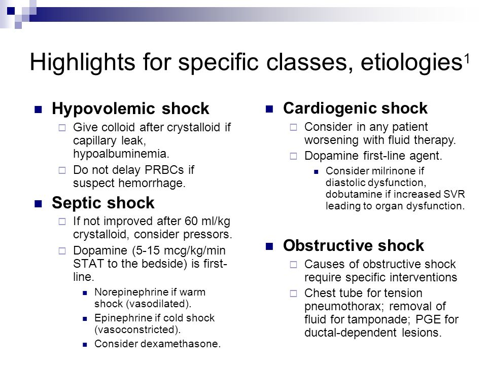 septic shock vs cardiogenic shock Distributive shock results from excessive vasodilation and the impaired distribution of blood flow septic shock is the most common form of distributive shock and is characterized by considerable mortality (treated, around 30% untreated, probably 80%) in the united states, this is the leading cause of noncardiac death in intensive care units (icus.
