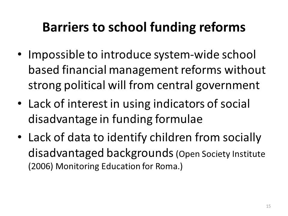 Barriers to school funding reforms