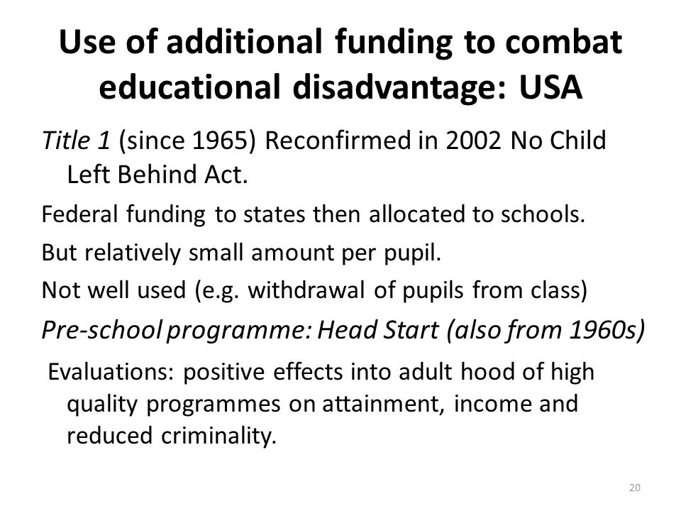 Use of additional funding to combat educational disadvantage: USA