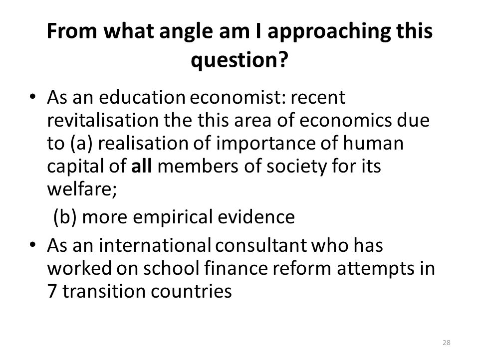 From what angle am I approaching this question