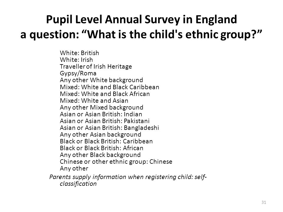 Pupil Level Annual Survey in England a question: What is the child s ethnic group