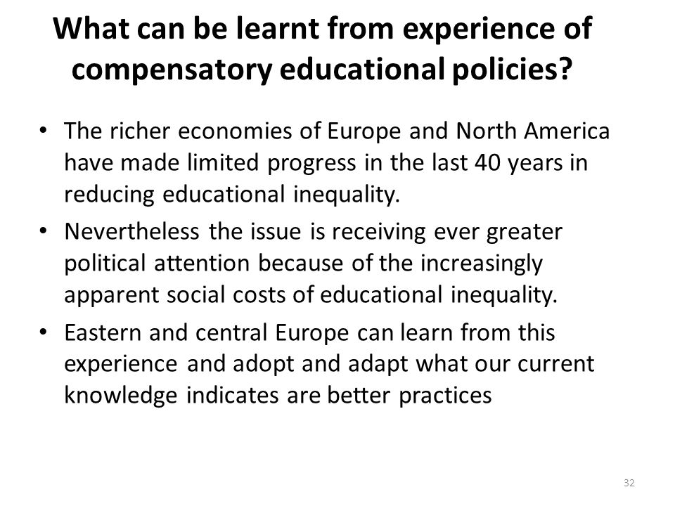 What can be learnt from experience of compensatory educational policies