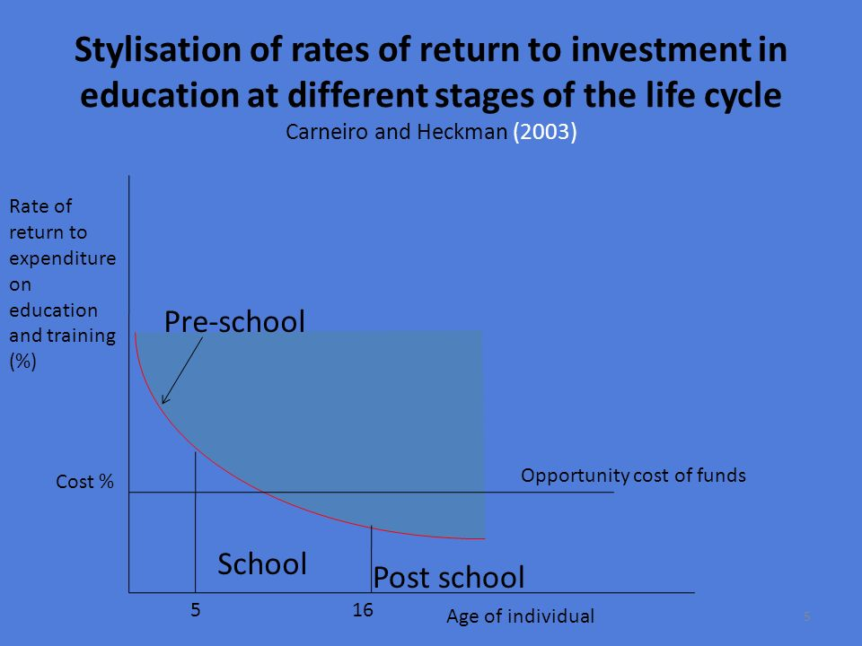 Stylisation of rates of return to investment in education at different stages of the life cycle Carneiro and Heckman (2003)