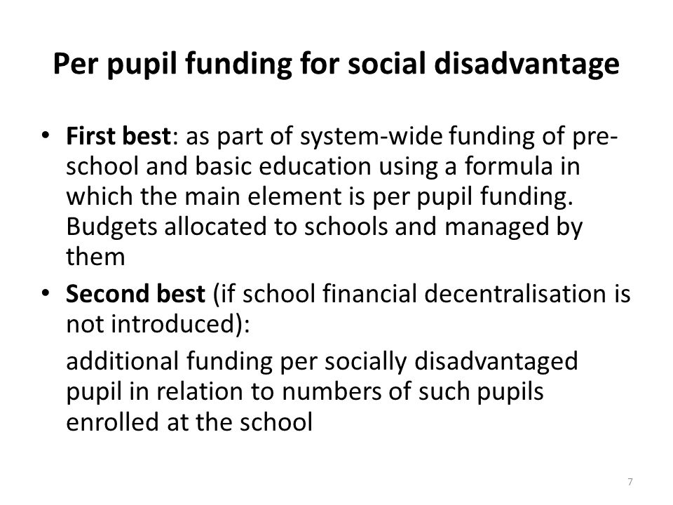 Per pupil funding for social disadvantage