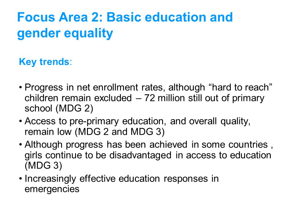 Focus Area 2: Basic education and gender equality