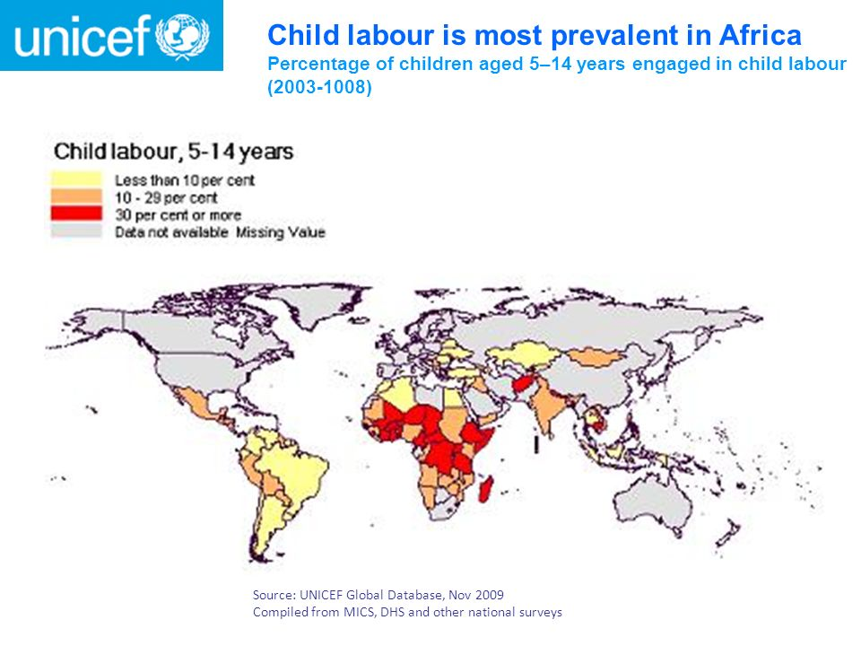 Child labour is most prevalent in Africa Percentage of children aged 5–14 years engaged in child labour ( )