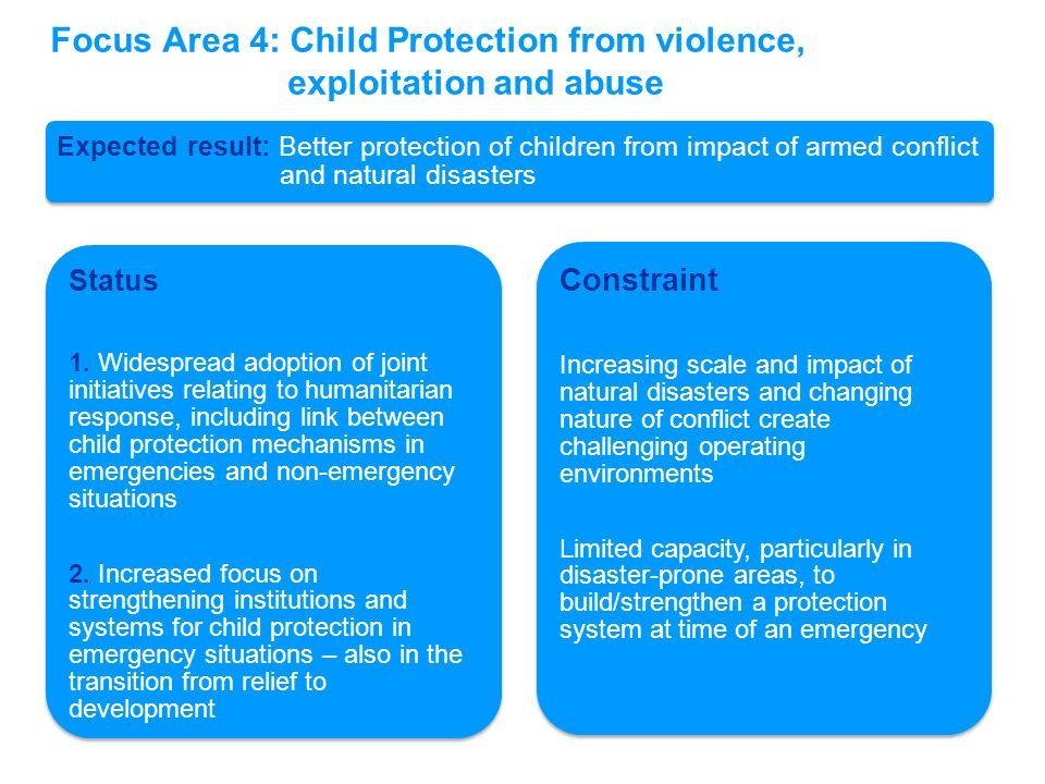 Focus Area 4: Child Protection from violence, exploitation and abuse