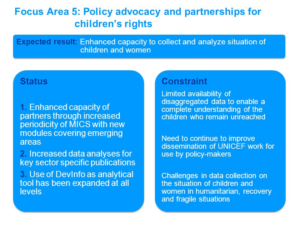 Focus Area 5: Policy advocacy and partnerships for children's rights