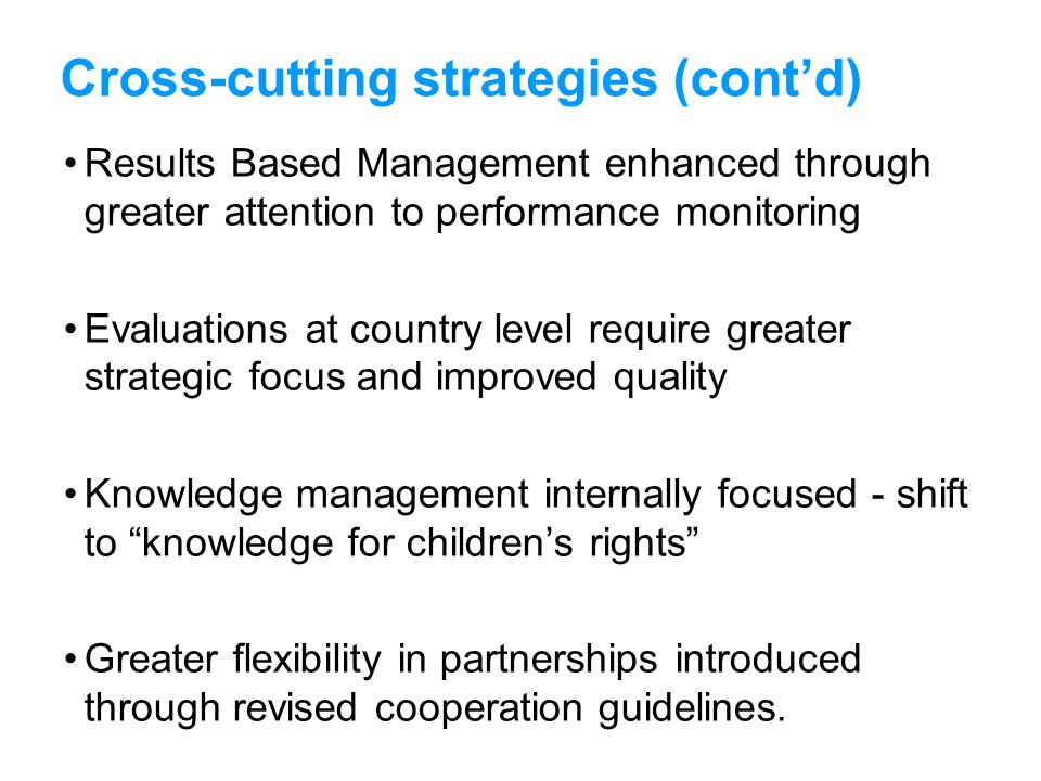 Cross-cutting strategies (cont'd)