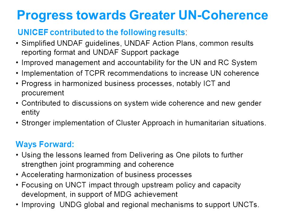 Progress towards Greater UN-Coherence