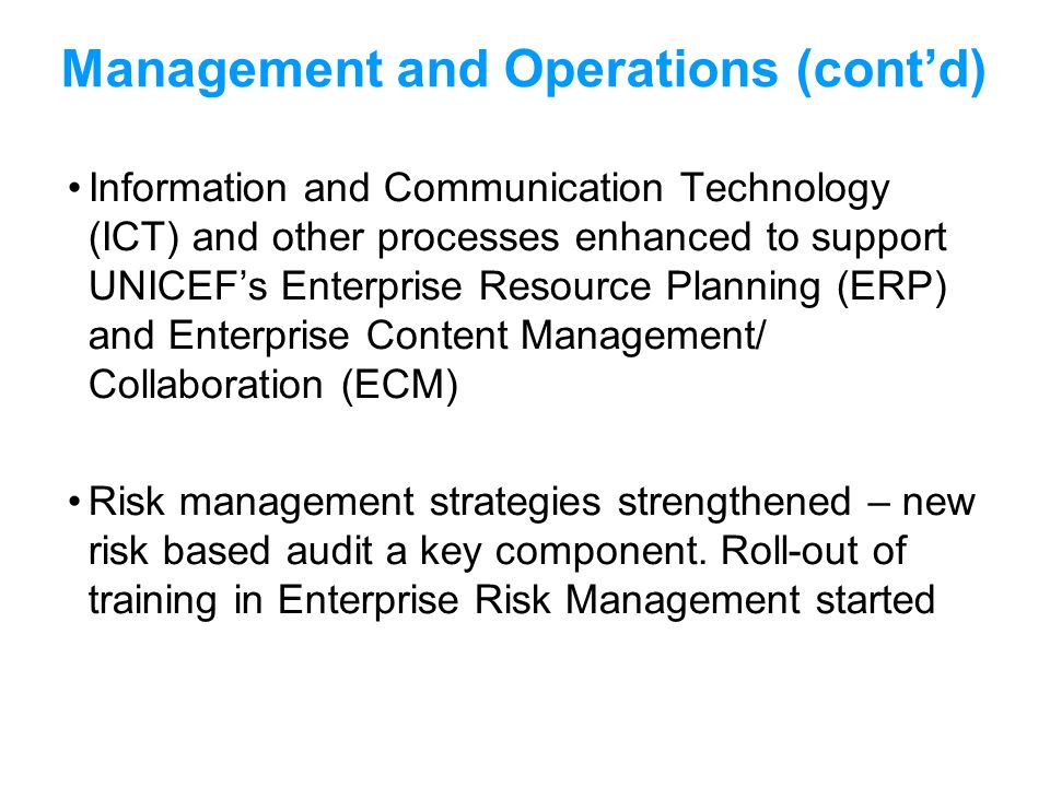Management and Operations (cont'd)