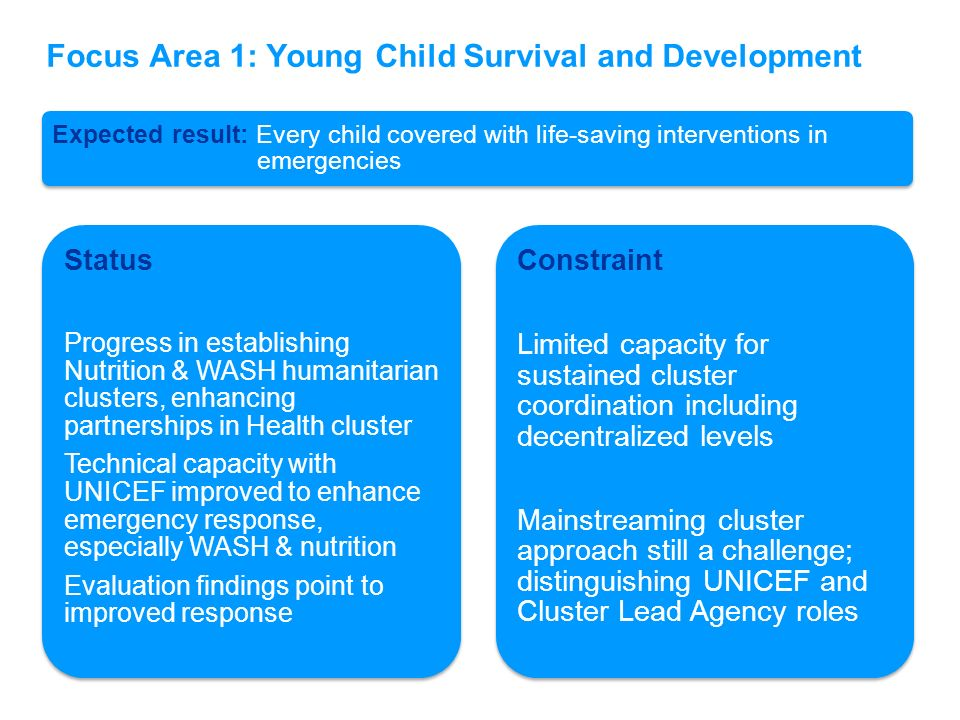 Focus Area 1: Young Child Survival and Development