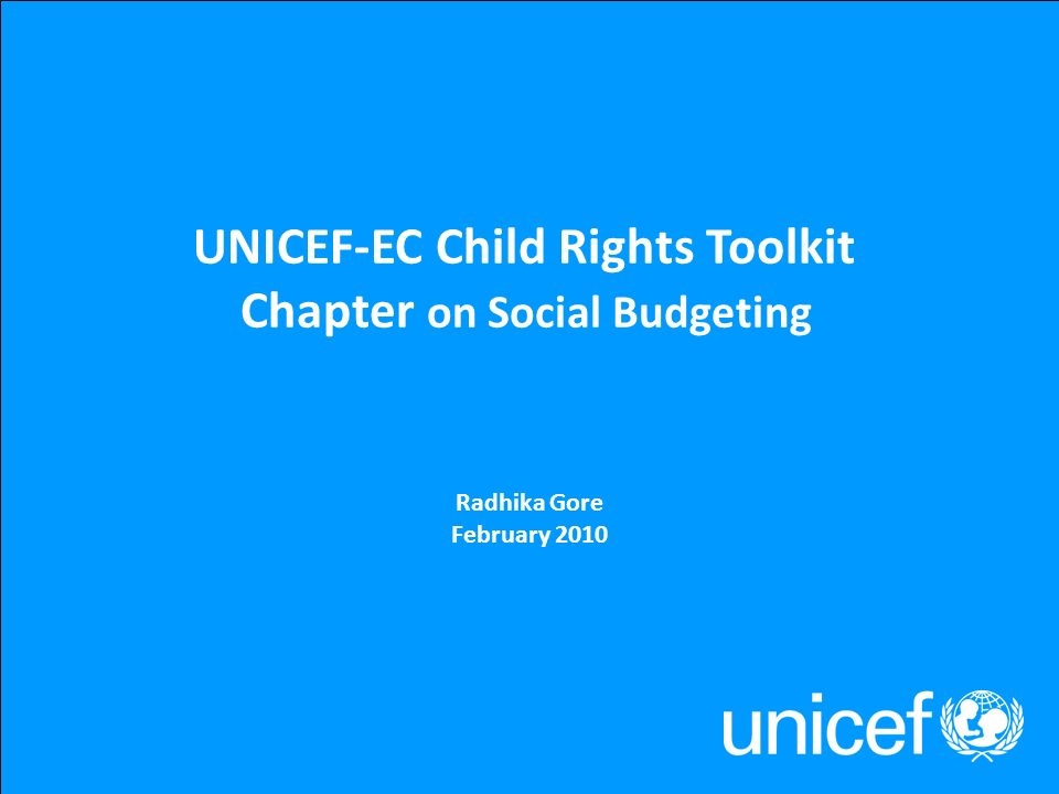 UNICEF-EC Child Rights Toolkit Chapter on Social Budgeting