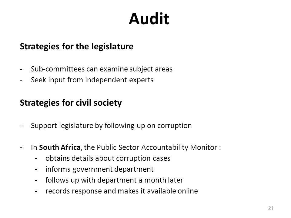Audit Strategies for the legislature Strategies for civil society