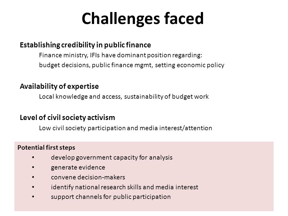 Challenges faced Establishing credibility in public finance