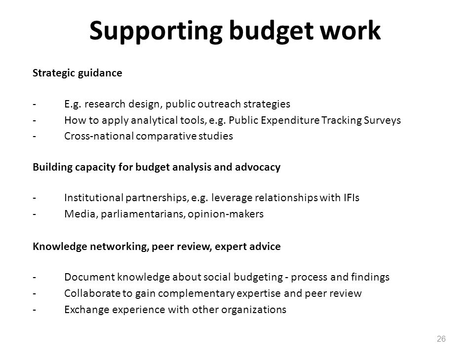 Supporting budget work
