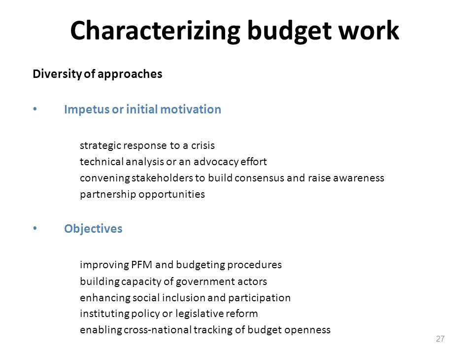 Characterizing budget work