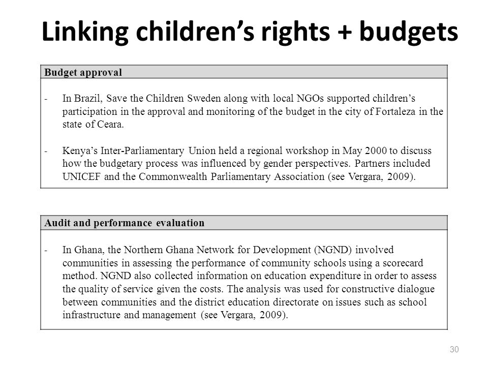 Linking children's rights + budgets