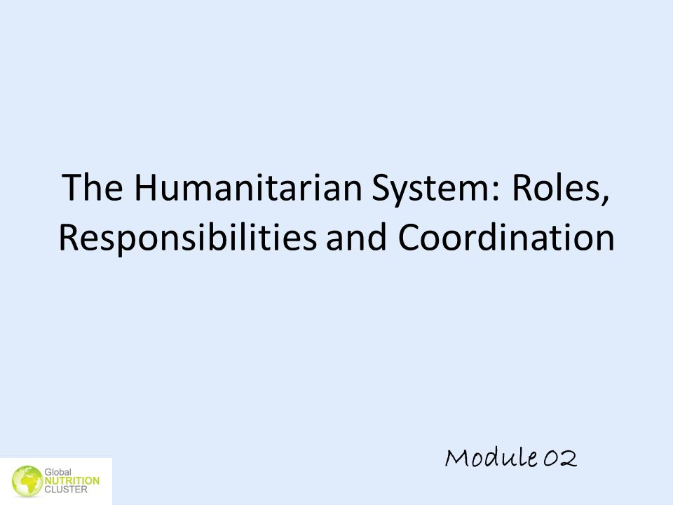 The Humanitarian System: Roles, Responsibilities and Coordination