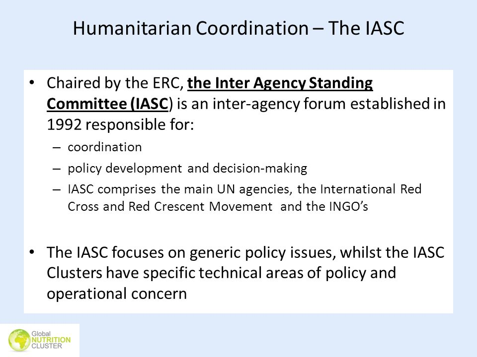 Humanitarian Coordination – The IASC