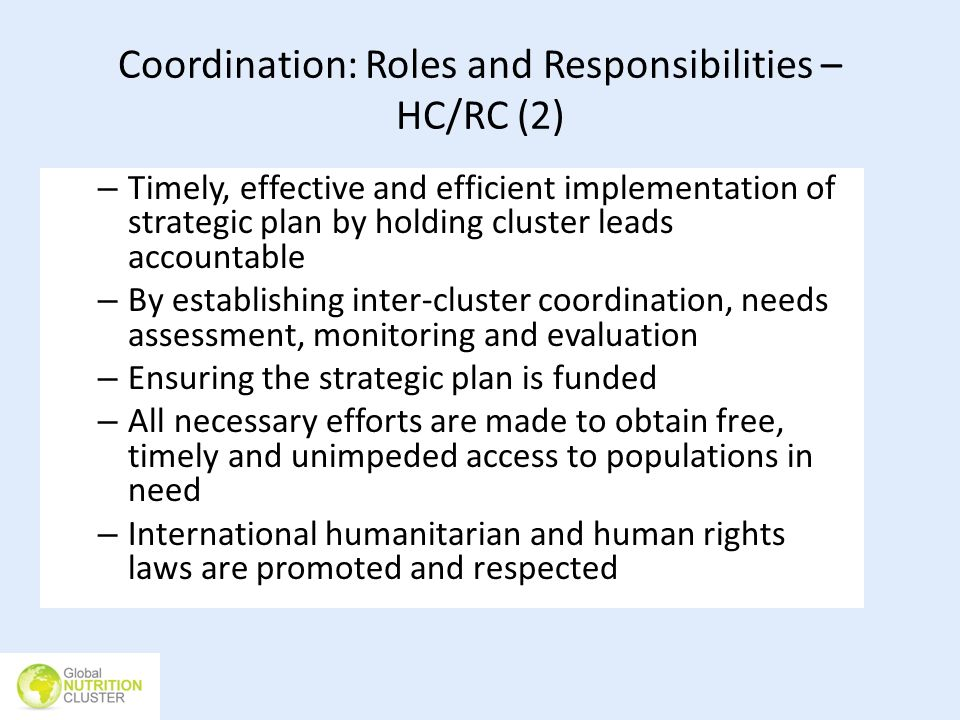 Coordination: Roles and Responsibilities – HC/RC (2)