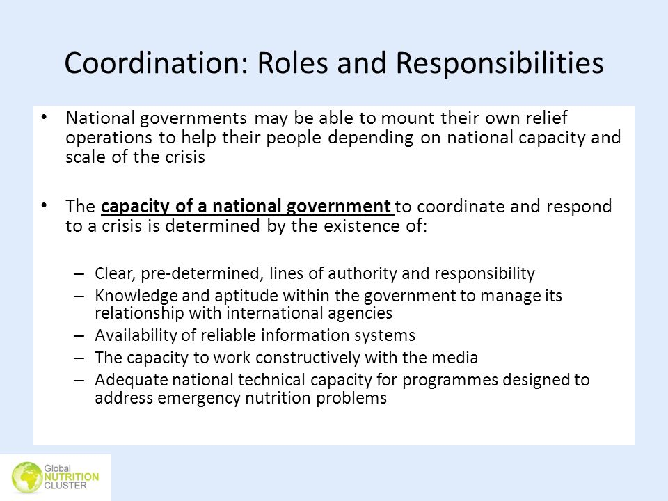 Coordination: Roles and Responsibilities